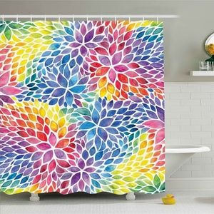 Shower Curtain Pastel Water Color Leaves Print